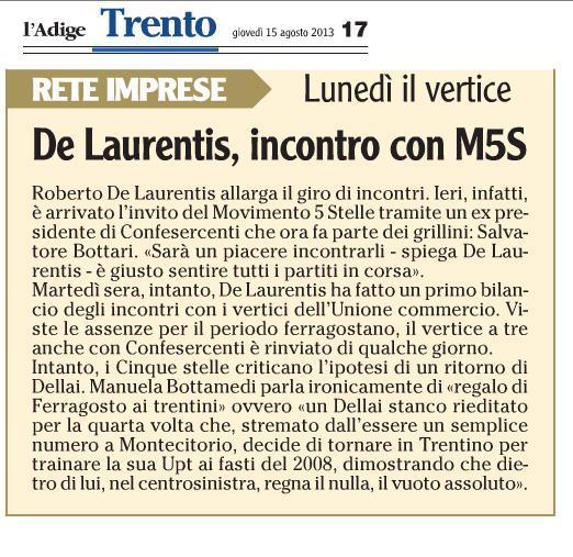 De Laurentis incontra M5S