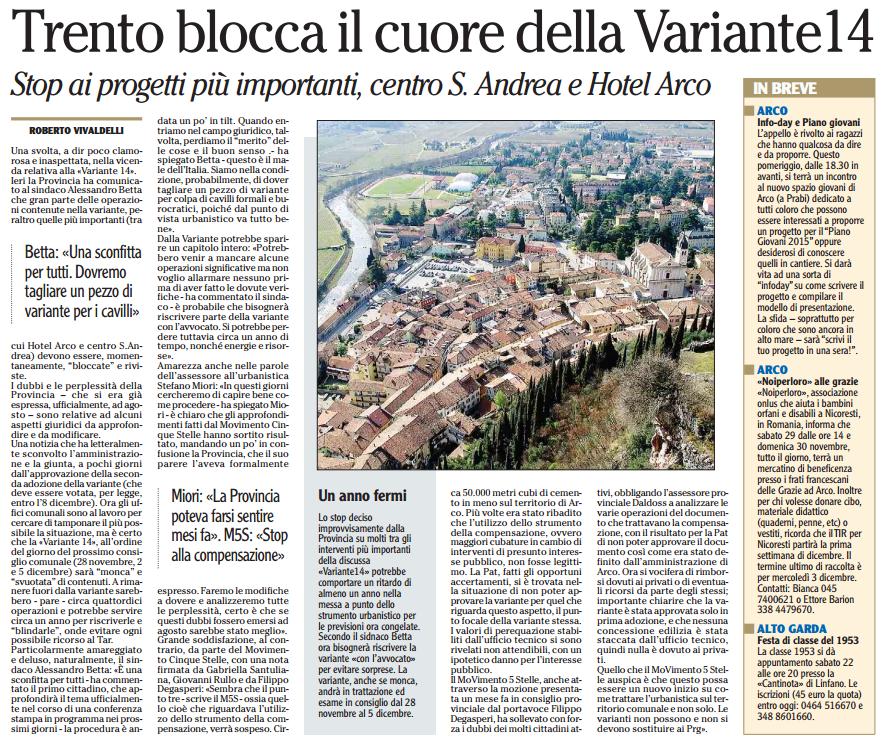 L'Adige 19/11/2014