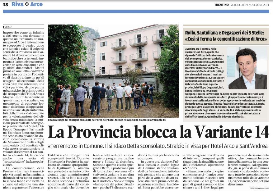 ilTrentino 19/11/2014 Arco:stop variante 14