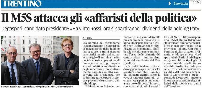 You are currently viewing Degasperi sulle Primarie: «Rossi prestanome per operazione finanza creativa»
