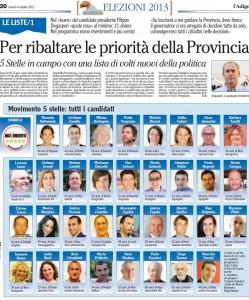 Read more about the article Candidati di lista M5S per elezioni provinciali 2013