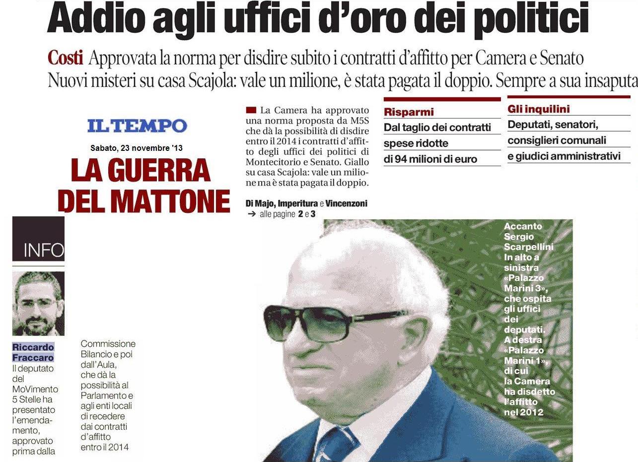 You are currently viewing Il Tempo: «Addio agli uffici d'oro dei politici»