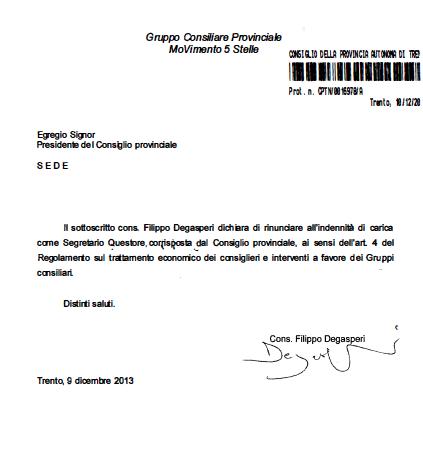 Read more about the article Filippo Degasperi rinuncia a 6120 euro lordi di indennità da componente ufficio di presidenza