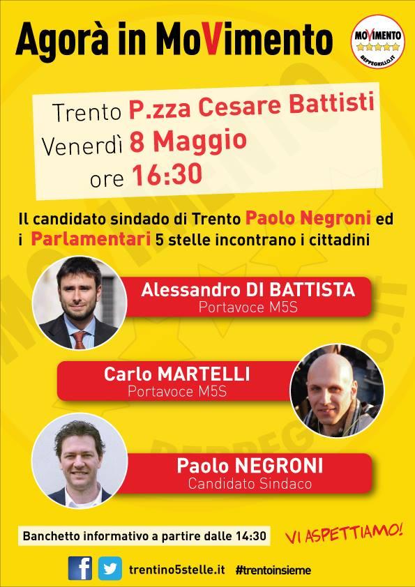 Read more about the article Alessandro Di Battista e Carlo Martelli a Trento, Rovereto e Riva venerdì 8 maggio