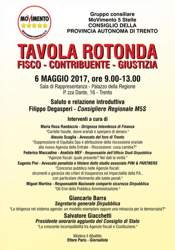 """You are currently viewing Tavola Rotonda """"fisco, contribuente, giustizia"""" Trento, 6 maggio 2017"""